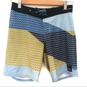 Quiksilver Sz 12 Boys High Line Board Shorts 26 Velcro and tie up front